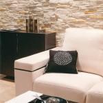 Salón con piedra decorativa